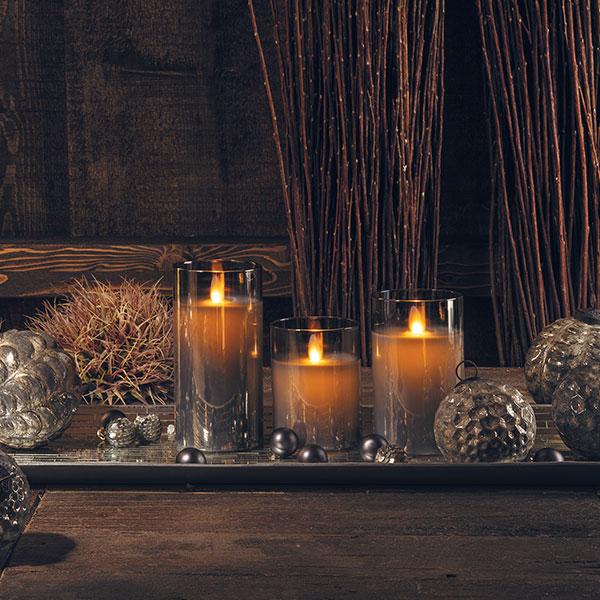 Set Wax Candle glass grey
