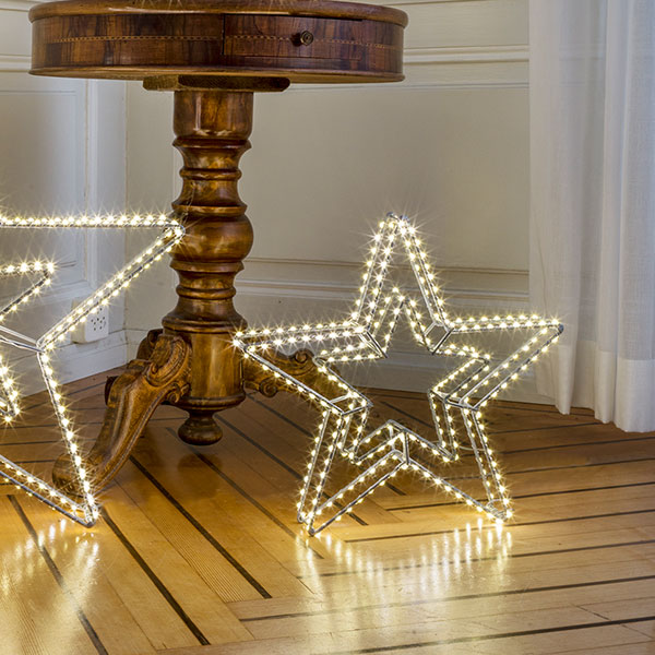 3D Double Star Argento, 420LED ww, D58cm, silbern, 12V/9W - 5m Kabel, indoor&outdoor, silbern, warmweiss,
