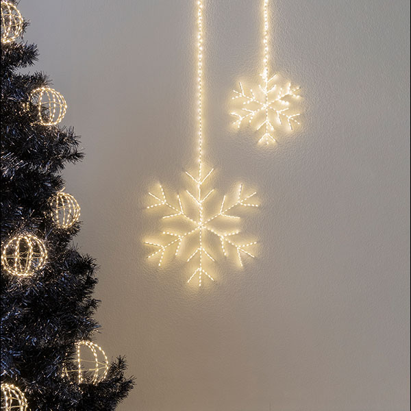 Angel Flake Argento, 430LED ww, D50cm, silbern, 4.5V/6W - 5m Kabel, indoor&outdoor, silbern, warmweiss,