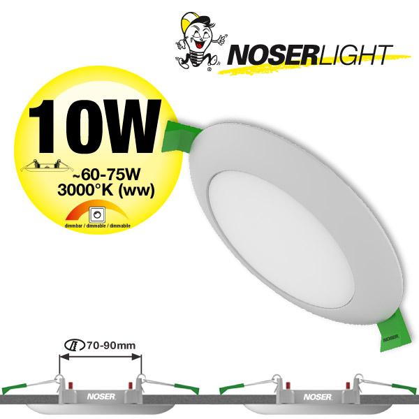 NOSER LED Einbauleuchte/ LED Downlight 10W, weiss, verstellbares Bohrloch